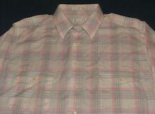 Men's Christian Dior White & Pink Plaid Long Sleeve Shirt Large