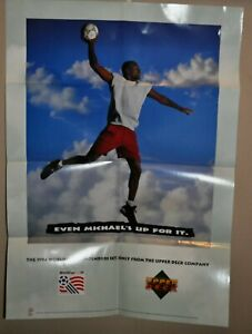 MICHAEL JORDAN 1994 World Cup Soccer Even Michael's Up For It Poster Upper Deck