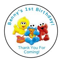 30 Baby Sesame Street Personalized Birthday party stickers,labels,favors elmo