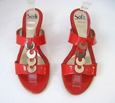 SOFFT DARK CORAL PATENT LEATHER GOLD O-RING THONG LOW HEEL SLIDE SANDAL SZ 10W