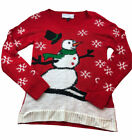 womens red knit Ugly christmas holiday snowman Long Sleeve sweater sz large 721
