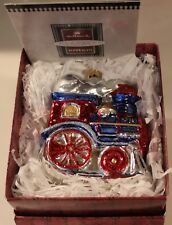 "1998 Vintage Hallmark Blown Glass Train Ornament ""Festive Locomotive"" New"