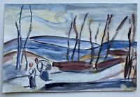 Watercolour Anonymous Modern Painting Landscape With People Figures