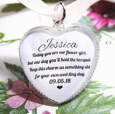 Flower Girl Gift Bouquet Wand Posy Charm Wedding Quote Heart Personalised Gift