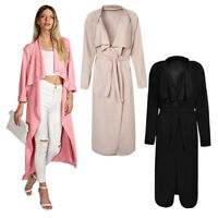 Women Lapel Italian Long Duster Jacket Ladies French Belt Trench Waterfall Coat