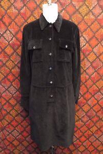 Archive Helmut Lang 1997 Black Cotton Velvet Shift Dress Sz M