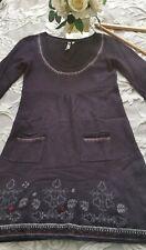 White stuff jumper summer dress embroidery pockets purple angora&cashmere size10