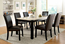 Bon Contemporary Luxury 7pc Dining Set Marble Top Dining Table U0026 Side Chairs  Walnut