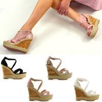 Womens Ladies Ankle Strap Espadrilles Platform Wedge Heel Open Toe Sandals Shoes