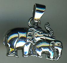 "925 Sterling Silver Elephant Mum & Baby Pendant   3/4"""
