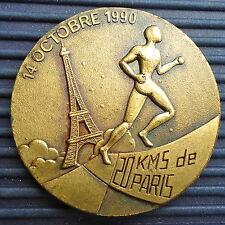Marathon 20 KMS PARIS Oct 1990 France Bronze Diam: 4 Cm ASC AIR Paris XV Collect
