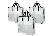 3x IKEA DIMPA clear Reusable Shopping STORAGE BAG. Heavy duty with zipper.