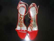 GUESS GWLEANNA - Red Leather Open Toe High Heel Shoes - SIze 8.5 M - EUC !!