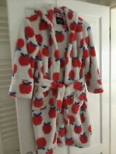 Child's Dressing Gown by Mini Boden Age 7 8 Girls Apple Design Fleece Hooded