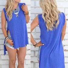 New Women Shirt Front Short Back Long Irregular Sleeveless Tops T-Shirt Blouse