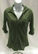 Women's Juniors Small Olive Green Crave Fame by Almost Famous Button Up Top