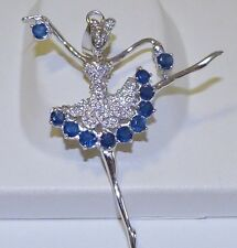 GENUINE! 2.09tcw African Sapphire Dancer Pendant Solid Sterling Silver 925!