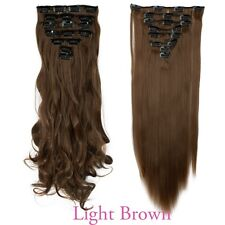 US Top Selling 8PC/Set Clip In Hair Extension Full Head Soft As Human LADY PE6