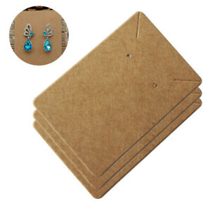 100pcs Jewelry Display Holder Earrings Necklace Hanging Paper Cards Tags 6x9cm