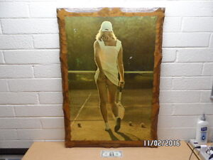 Large Vintage Woman Playing Tennis Picture On Wood 27x39