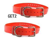 "2 SparkyPetCo 3/4"" Neon Orange Roller Buckle High Flex Dog Strap For Garmin Dogt"