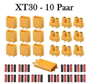 10 Paar XT30 Stecker Buchse mit Schrumpfschlauch 2mm Goldkontakte Goldstecker