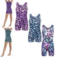 Girls Kids Leopard Ballet Gymnastics Leotard Athletic Unitard Dancewear Biketard