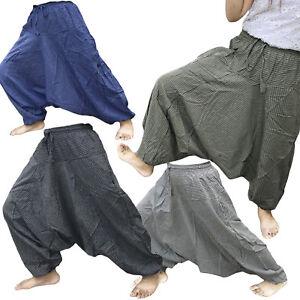 Mens harem pants Cotton Striped Hippie boho pinstripe baggy yoga trousers Size S