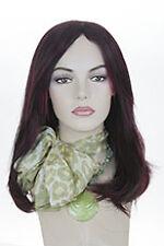 Ash Black And Burgundy Frost Brunette Long Medium Straight Wigs