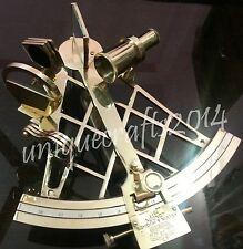 "Vintage Marine Solid Brass Working Sextant 10"" Navy Navigational Instrument"
