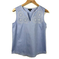 J Crew Womens Embroidered Circles Sleeveless Blouse Cotton French Blue Eyelet 4