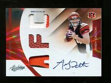 Andy Dalton 2011 Panini Absolute Prime Patch Auto Rookie 19/25 Bengals MT 26166