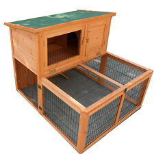 Rabbit Hutch Large Double Story Rabbit House Chook Hutch Cage with RUN P023