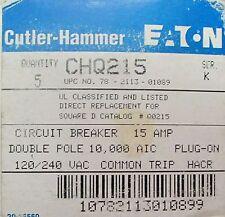 CUTLER HAMMER CHQ215 2 Pole 15 Amp CHQ Square D Q0215 Breaker*Price Per Ea*