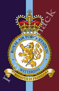 R.A.F WITTERING STATION CREST PRINTED ON A METAL SIGN. FRIDGE MAGNET.
