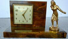 Marbled Bakelite Catalin Bowling Trophy New Haven Mechanical Desk Clock