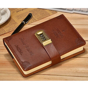 Vintage Brown Leather Diary Writing Journal with Combination Password Lock