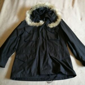 M65 Jacket US Alpha Industries Army Military Field Coat Parka Black  with m51 hd