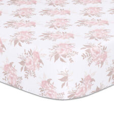 100/% Cotton Grace Floral Fitted Crib Sheet Pink and Dusty Grey Watercolor