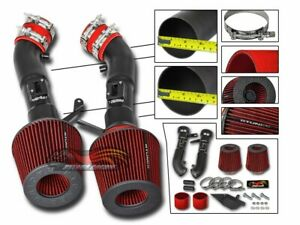 Cold Heat Shield Air Intake Matte Black + RED Filter For 09-14 Nissan 370Z
