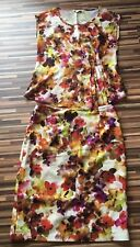 KALIKO Floral Fitted Suit, Skirt and Blouse Top  UK size 10, Multicolored