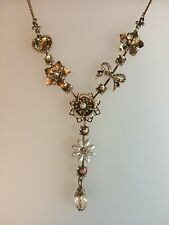 """Vintage Style 18"""" Gold & Silver Diamanté Flower Bow Drop Necklace Bridal (A226)"""