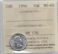 **1956**, ICCS  Graded Canadian,  10  Cent, **MS-65**