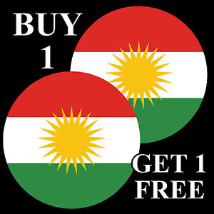 KURDISTAN FLAG - FUN NOVELTY CAR / WINDOW STICKER + 1 FREE - BRAND NEW - GIFTS