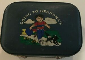 Vintage Going to Grandma's Boy Blue Hard Shell Suitcase Kids