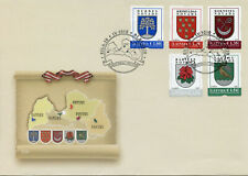 Latvia Stamps 2020 FDC Coat of Arms Regions & Cities Heraldry Emblems 5v S/A Set