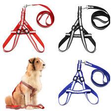 Reflective Nylon Pet Dog Harness Adjustable Dog Leash Set Pet Walking Strap Vest