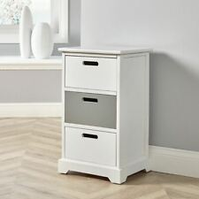 White Grey Wooden 3 Drawer Chest Storage Unit Bedroom Office Bedside Seconds