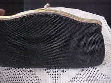 Vintage Black Beaded Clutch Purse By Dover Made in USA Seed Beads Edge Missing