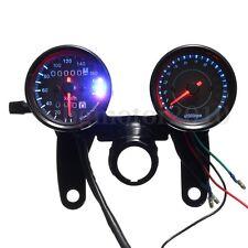 Universal Black Motorcycle LED Light Odometer & Tachometer Speedometer Gauge NEW